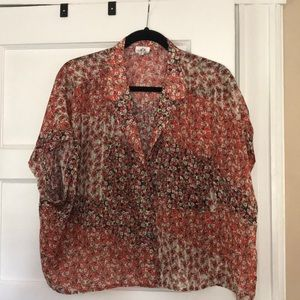 Cropped Floral Button Down